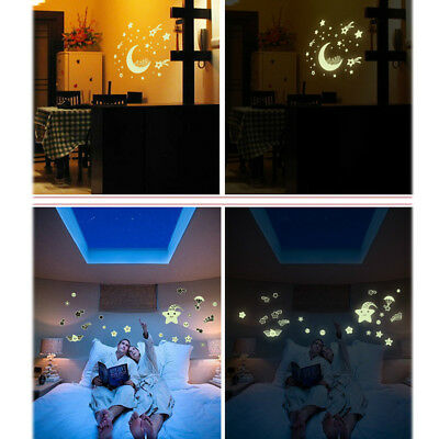 Kids Ceiling Wall Stickers Bedroom Glow in the Dark Stars Moon Decor Child N8P