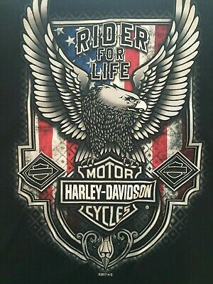 Harley Davidson Mens USA Patriot Eagle American Flag Black SS T Shirt Sz XXL