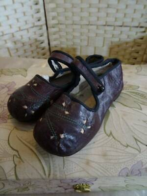 Beautiful Pair Antique Aubergine 1920's Childs Leather Shoes