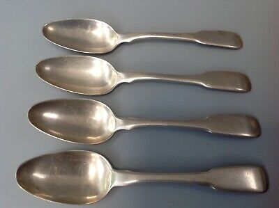 Antique Solid Silver Fiddle Teaspoons x 4 Hamilton & Co. Calcutta Colonial 1900s