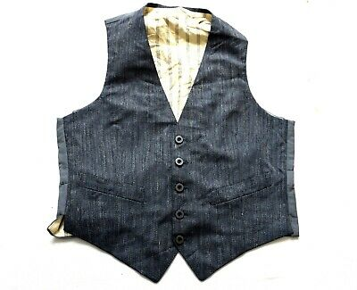"""Men's Vintage Grey Buttoned Wool Waistcoat Retro Small 36"""" Chest"""