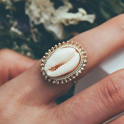Boho Nature Shell Ring Women Handmade Gold Band Rings Finger Knuckle Jewelry Hot