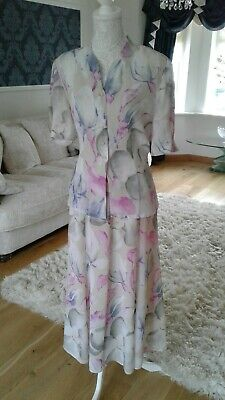 Jacques Vert Skirt And Blouse Top Suit Beautiful Floral Size 14
