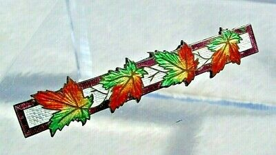 Antique Fall Leaves Guilloche Enamel Bar Pin Brooch Sterling Silver Signed