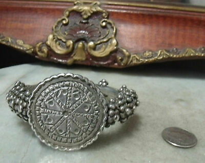 "Antique Victorian Sterling Silver Super Heavy Rare Bracelet Fits 5"" up to 5 3/4"""