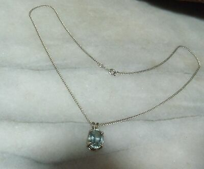 Vintage White Solid 14k Rare Untreated Aqua Blue Topaz 3.5 Cts Necklace