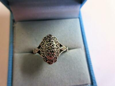 VINTAGE ART DECO 9ct GOLD & STERLING SILVER MARCASITE COCKTAIL RING - 3.2g!