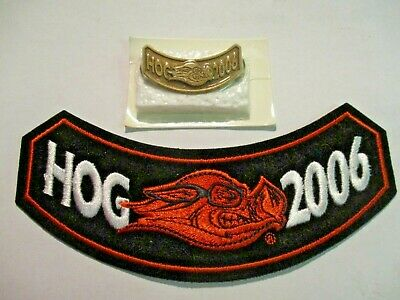 NEW Harley Davidson Motorcycle Owners Group HOG 2006 Rocker Patch & Pin SET