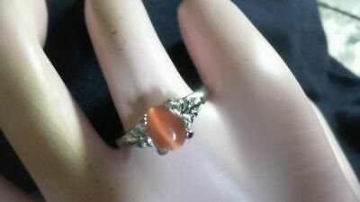 Sterling SILVER Plated Orange Tigers Eye ring (size 7.25)  eye moves   zz