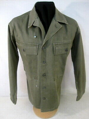 WWII US Army OD7 HBT Herring Bone Twill 2nd Pattern Combat Jacket Shirt - Small