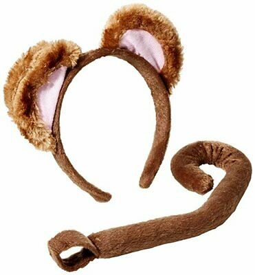 Fancy Dress Animal Ears And Tails 2Pc Set Brown White Grey Monkey Book Day