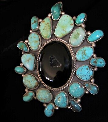 NAVAJO DRUZY RING - Exceptional Turquoise, Onyx,Sterling Silver Cluster- 72grams