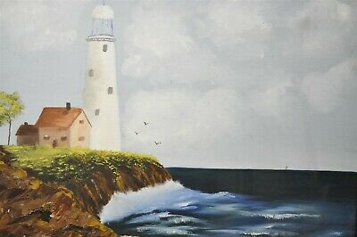 "Vintage Lighthouse Framed Oil Painting Signed Coby 21""x25"""