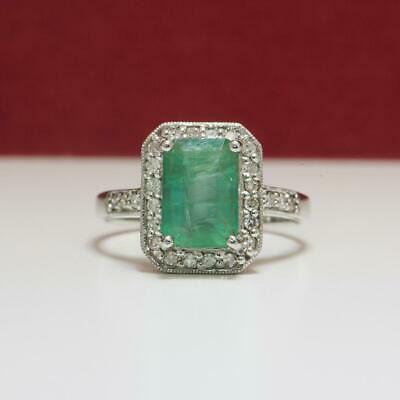$1,999 SOLID 14k White Gold 2.44ctw Colombian Emerald & G-SI Diamond Ring 4g