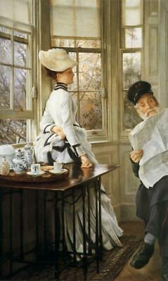 """perfect 24x36 oil painting handpainted on canvas """"reading news""""@N15246"""