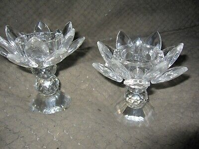 2 Clear Crystal Lotus Candle Holders - Beautiful!  Sold In Pairs
