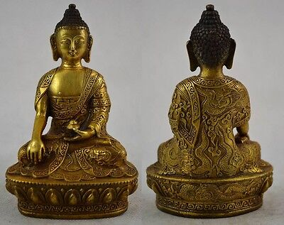 Collectables! Old Carving Buddha Auspicious Dragon bronze Patina Exorcism Statue