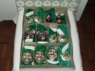 12 Old World Halloween Ornaments Wolf Head- Dracula- Witch- Spider Web + Box