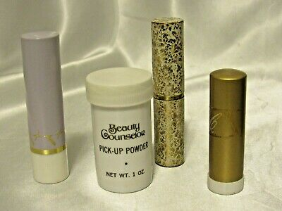 Vintage 1950's Collectible Beauty Counselors 3 Lipsticks & Pick Me Up Powder