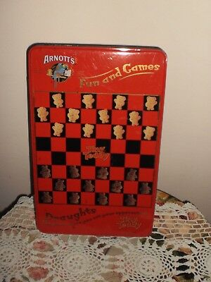 Arnott's Tiny Teddy Fun & Games Draughts Biscuit Tin