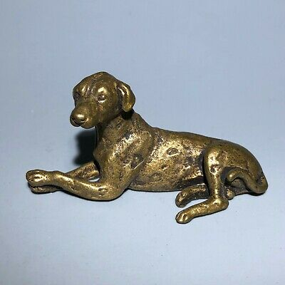 Old Antique Chinese Handwork Brass Rare Collectible Spotty Dog Ornament Statue