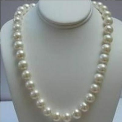 """14K Solid Gold Clasp 9-10MM White Akoya Pearl Necklace 18""""AAA+R"""