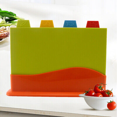 Non-slip Coloured Chopping Board Set Index Cutting Boards With Stand Mutifuntion