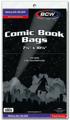 """BCW Comic Book Bags Regular and Silver Age Comics Thick (7"""" 1/4 x 10"""" 1/2) (1..."""