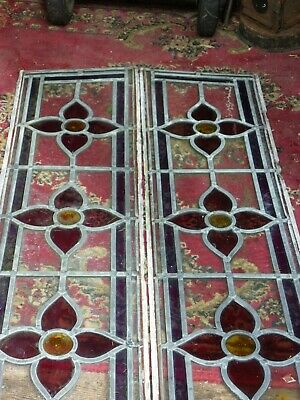 A Pair Of Antique Tapered Stained Glass Leaded Windows