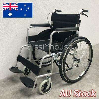 "24"" Folding Wheelchair Light Weight Manual Mobility Walking Aid Park Brakes AUS"