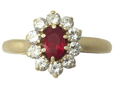Vintage French Ruby & Diamond 18ct Yellow Gold Cluster Ring