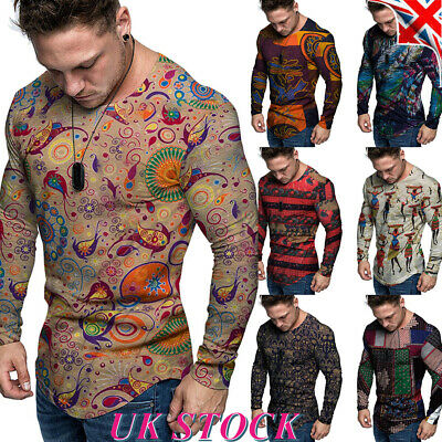 Mens Stylish Printed Long Sleeve T Shirt Tee Slim Party Casual Sport Muscle Tops