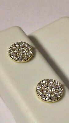 925 STERLING SILVER YELLOW GOLD plated circular disk Micropave STUD CZ earrings