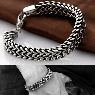 Stainless Steel Cuban Curb Link Chain Bracelet Men Women Hip Hop Jewelry sa