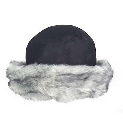 Dents Ladies Waxed Cotton Navy Blue Hat with Grey Faux Fur Brim