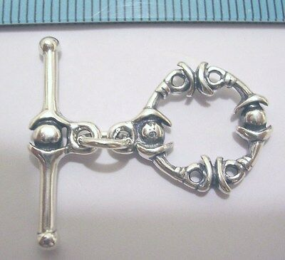 1x BALI OXIDIZED STERLING SILVER DOT ROPE ROUND TOGGLE CLASP 15mm #396