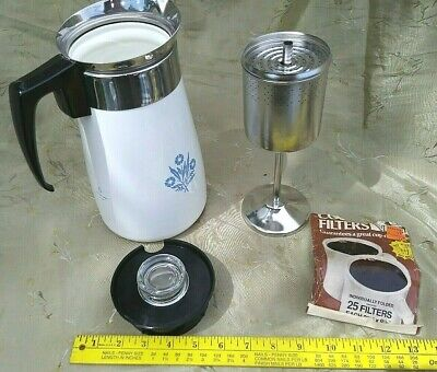 EUC Vtg COMPLETE Corning Ware 9 Cup Stove Top Percolator Coffee Pot Blue Flower