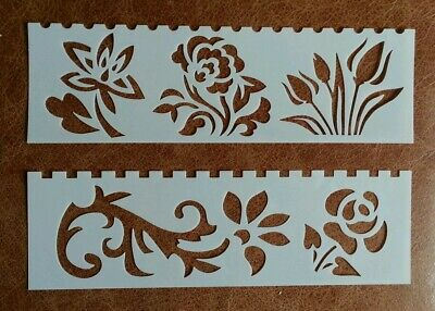 2 X Craft Stencil Templates ~ Flowers Tulips Rose ~ New