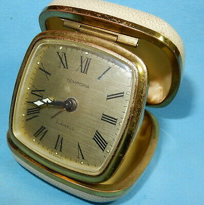 VINTAGE TRAVEL ALARM CLOCK By TEMPORA FULLY WORKING GERMANY - CASED 2 JEWELS