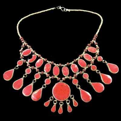 Rare Ancient Red Stone Pendant Necklace  300 B.c 32 Stones! (2)