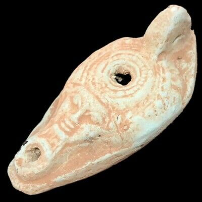 Ancient Egyptian Face Stone Oil Lamp , Late Period 664 - 332 Bc (4)