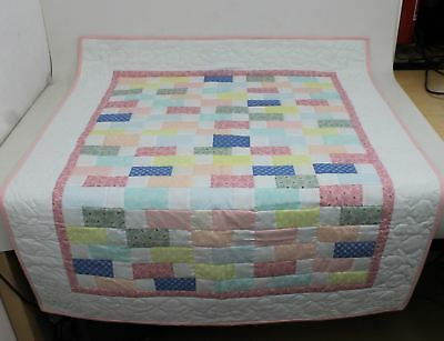 """Multi-Coloured Block Pattern Baby & Toddler Quilt For Floor Or Bed 49 x 40"""""""