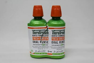 THERABREATH Bad Breath Oral Rinse Mild Mint Mouthwash 16oz 455ml 2 Pack NEW