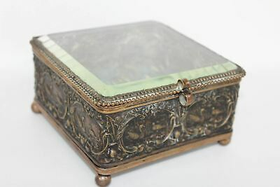 Antique Victorian Copper Jewellery Trinket Box Casket With Clear Glass Top