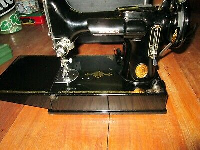 Vintage Singer Featherweight 221-1 Sewing Machine (1950) with Case & Attachments