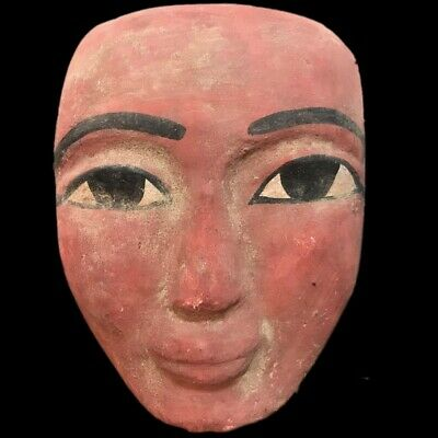 BEAUTIFUL ANCIENT HUGE EGYPTIAN WOODEN MASK 300 BC (1) 15 cm TALL !!!!!