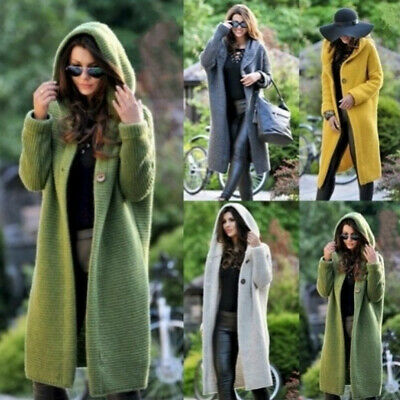 Autumn Women Cardigan Jacket Coat Hoodie Hooded Knitted Long Sweater Jumper Tops