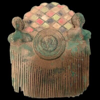 ROMAN ANCIENT BRONZE ENAMELLED COMB WITH 2 BUSTS  And 1 BUST APPLIQUE 200-400 AD