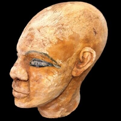 EGYPTIAN PHAROAH BUST STATUE, LATE PERIOD 664 - 332 BC (2) Large Over 11 Cm