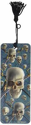 Cheatwell Royce Lenticular 3D  Skull & Sword Patch Bookmark With Tassel New